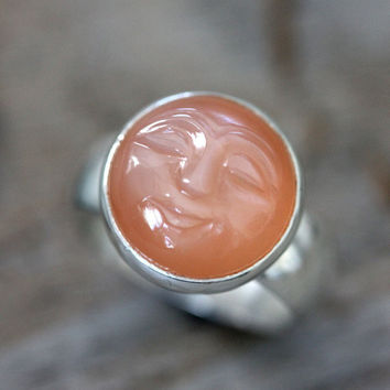 Peachy Pink Moonstone Ring, Smiley Carved Moonstone Face, Wide Band Ring, Sterling Silver RIng