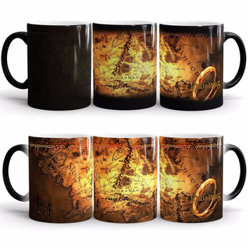 the lord of the rings mugs middle earth map mug ceramic transforming magic heat reveal coffee mug heat changing color beer Cup