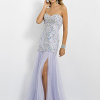 Sweetheart Fully Beaded Form Fitted Blush Prom Dress 9788