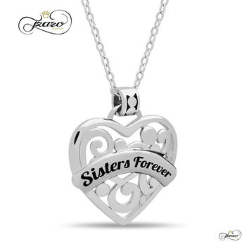 "Sister Heart Necklace,  925 Silver, Silver Plated Necklace Engraved w ""Sisters Forever"""