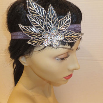The Great Gatsby Headband, ARIA, Flapper Headband, Leaf Headband, 20s Headband, Silver Headband