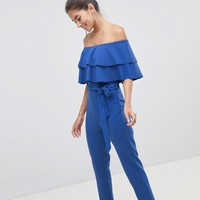 Silver Bloom Bandeau Frill Front Jumpsuit at asos.com