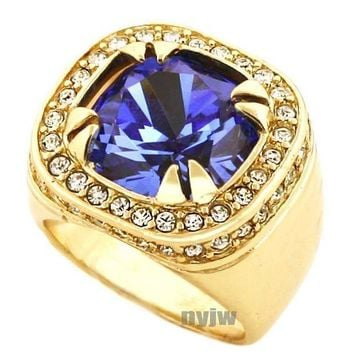 New Mens Big Chunky Gold Plated Iced Out Rich Gang Blue Sapphire Ring R019g