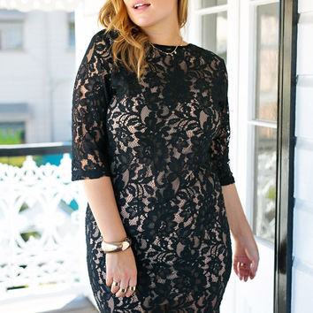 Black Lace Zip Front Sheath Dress