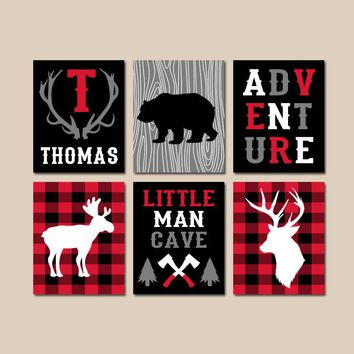 LUMBERJACK Nursery Wall Art, Buffalo Plaid Decor, Baby Boy Lumberjack Nursery Art, Buffalo Plaid Baby Shower, Canvas or Prints, Set of 6
