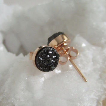 NEW Black Druzy Rose Gold Studs Titanium Drusy Quartz Earrings Rose Gold Vermeil Bezel Set