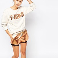 Puma | Puma Oversized Crew Neck Sweatshirt With Rose Gold Logo at ASOS