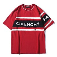 Givenchy Summer New Fashion Bust Letter Shopping Leisure Couple Top T-Shirt Red