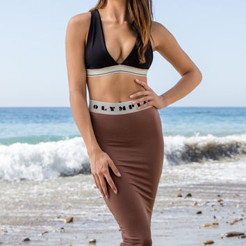 Olympia Activewear - Siren Neo Pencil Skirt | Coffee