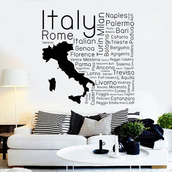 Vinyl Wall Decal Italia Italian Map Cities Room Decor Stickers Unique Gift (ig4410)