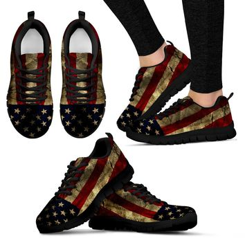 Aged Flag Black Boarder Women's Sneakers