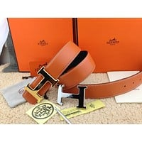 New Authentic Hermes men's belt 38mm orange Double Buckle 2H Gold&Silver 110cm