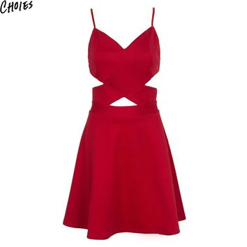 Women Red V Neck Wrap Front Novelty Cut Out Sexy Bandage A Line Skater Mini Dress New Back Zipper Slim Cami Summer Clothing