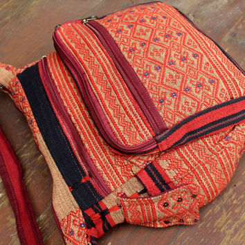 Red Tribal Ethnic Naga Embroidered Cross Body Messenger Bag Tote Man Bag