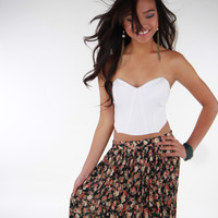 High-low Floral Print Maxi Skirt