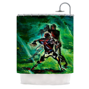 "Josh Serafin ""1st & 10"" Baseball Green Shower Curtain"
