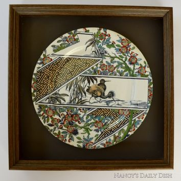 Circa 1887 Antique  English Transferware Aesthetic Movement Plate in Shadow Box Frame