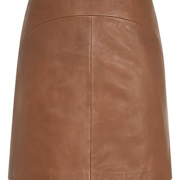 Cammie Tan Leather A-Line Mini Skirt - REISS