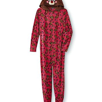 Reindeer Womens One-Piece Footie Pajamas