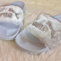 Bedazzled Crystal Fenty By Rihanna Puma Fur Slides In White Limited Edition