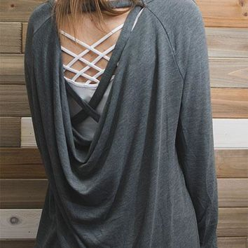 Open draped strappy back knit top - Gray