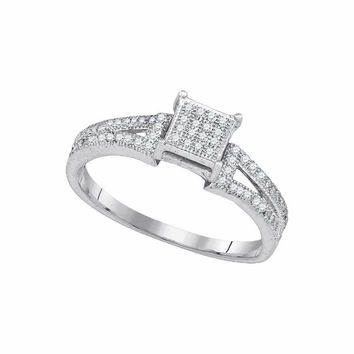 10kt White Gold Women's Elevated Diamond Square Cluster Bridal Wedding Engagement Ring 1-6 Cttw - FREE Shipping (USA/CAN)