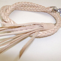 handmade woven vegetable leather key lanyard natural 18 inch