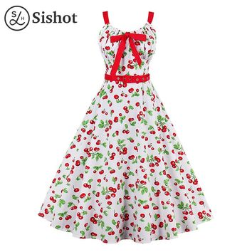 Women Retro Dresses Sleeveless Knee Length A Line White Printed Red Cherry Bow Spaghetti Strap Summer Vintage Dress