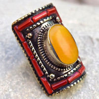 Amber Nepali Tibetan Ring Ethnic Bohemian Coral Boho Hippie Saddle Gypsy Jewelry