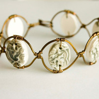 Faux Ceramic Antiqued Brass Bracelet, Polymer Clay, Wire Wrapped