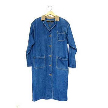Floor Length Jean Jacket Super Long Lee Vintage Denim Coat 90s Unisex Duster Coat Button Down Coat Chore Coat Mens Womens Medium Large