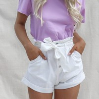 Closer White Paperbag Belted Shorts