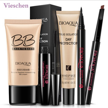 Vieschen 5 in 1 Makeup Set Make Up BB cream Mascara Makeup Base Eyebrow Pencil Eyeliner for Beginners