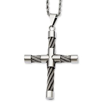 Stainless Steel Polished and Wire Cross Necklace - 22 Inch
