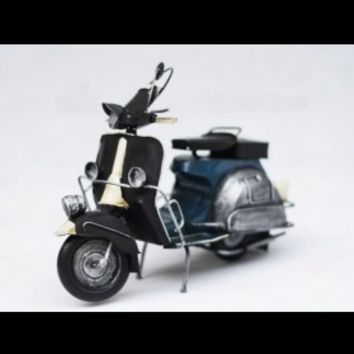 Handmade Antique Tin Model Motorbike-Scooter Blue