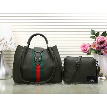 Gucci Women Shopping Leather Tote Handbag Satchel Crossbody Set Two-Piece