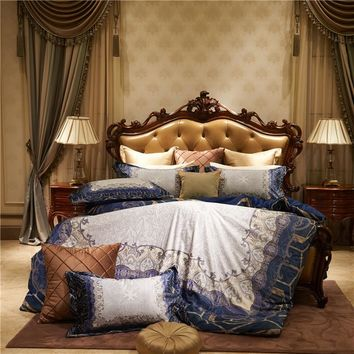 Luxury Flannel European Palace Bedding set Winter Warm Fleece Soft Duvet cover Bed Sheet Pillowcases Queen King size 4pcs