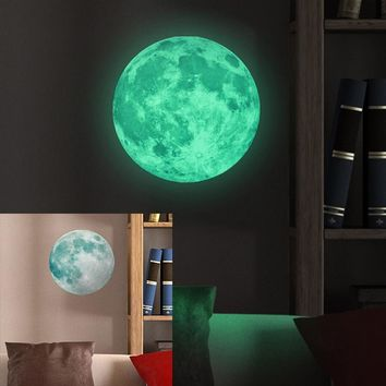 30cm Large Moon Glow in the Dark Luminous DIY Wall Sticker Living Home Decor