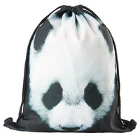 2016 new drawstring printing backpack women fashion shoulder bag casual schoolbags mochila Men's backpacks panda Animal patterns