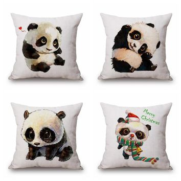 New arrival cute Cartoon style Panda Cotton Linen Pillow cover Throw decoration Lovely Fashion pillowcase Baby Room Decorative