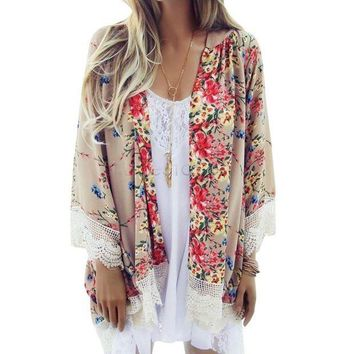 MDIGMS9 Floral Pattern Printed Cape Knits Lace Kimono Cardigan Blouse  Tops Batwing Sleeve