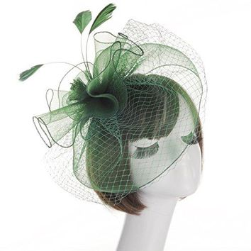 Fankeshi Womens Cocktail Sinamay Fascinator Hat Flower and Veil Hair Clip Hat