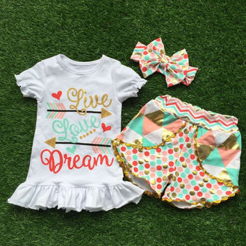 girls live love dream outfits with matching headband