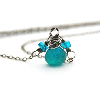 Neon Blue Apatite Necklace Sea Green Chalcedony Gemstone Pendant Necklace Oxidized Sterling Silver Jewelry Antique Silver Necklace