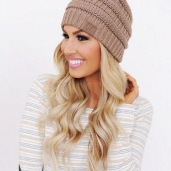 PEAPDQ7 Winter Comfortable Womens Knitted CC Beanies