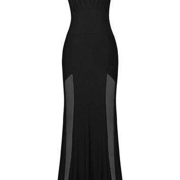 Sleeveless Mesh Accent Black Maxi Evening Dress