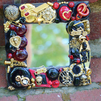 Handmade Skull mosaic mirror, rockabilly, steamunk jewerly mosaic mirror
