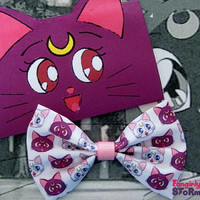 Sailor Moon Luna and Artemis  Hair bow/ Bow tie Handmade unique kawaii anime  Geeky Fabric bow