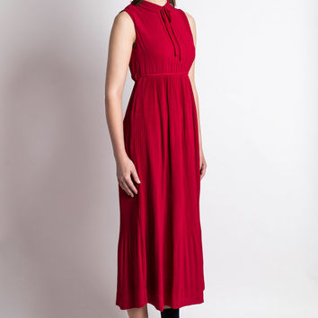 Vintage Dress Japanese S// 70s Dress// Gala Red Dress// Summer Red Chiffon Japan