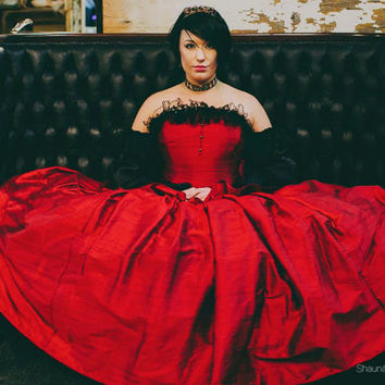 Gothic Cinderella Wedding Dress Fairytale Red Silk and Black Lace-Custom to your size